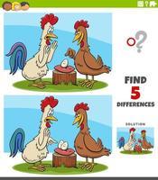 Diferencias tarea educativa para niños con gallo y gallina. vector