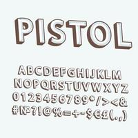 pistola, vendimia, 3d, vector, alfabeto, conjunto