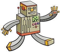 caricatura, robot, fantasía, cómico, carácter vector