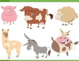 Conjunto de personajes de animales de granja divertidos dibujos animados vector
