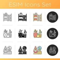 Home accessories icons set vector