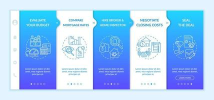 First-time home buying points onboarding vector template