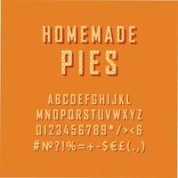 tartas caseras vintage 3d vector alfabeto conjunto