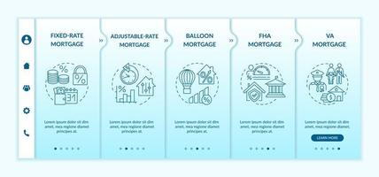 Mortgage loan types onboarding vector template