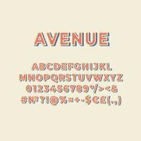 avenida, vendimia, 3d, vector, alfabeto, conjunto