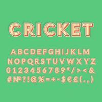 cricket, vendimia, 3d, vector, alfabeto, conjunto