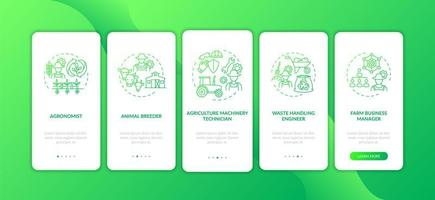 Top agriculture careers onboarding mobile app page screen with concepts