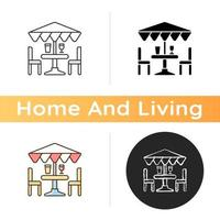 Patio furniture and accessories icon vector