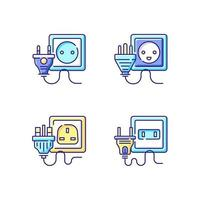 Power outlet types RGB color icons set vector