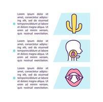 Icono de concepto de síntomas de dolor de garganta con texto vector