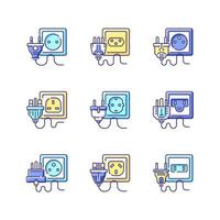Different power outlets RGB color icons set vector