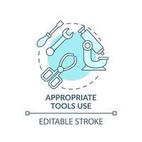 icono de concepto de uso de herramientas adecuadas