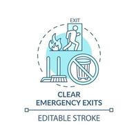 Clear emergency exits concept icon