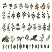 Christmas plants decor elements set sticker for bullet journal swirls design vector