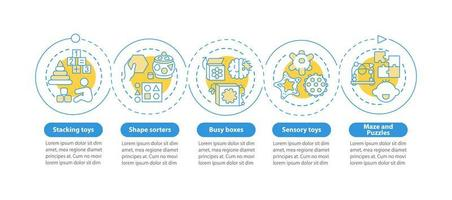 juguetes para el desarrollo infantil temprano plantilla de infografía vectorial