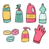 cleaning materials covid-19 prevention isolated drawings vector