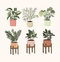 interior plantas en maceta elementos de decoración set sticker pulgar verde para bullet journal vector
