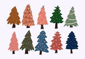 Christmas cute cartoon elements indoor decor set sticker design vector