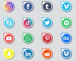 colección de logotipos de redes sociales vector