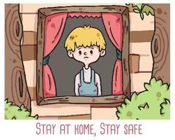 self quarantine coronavirus stay at home, stay safe illustration