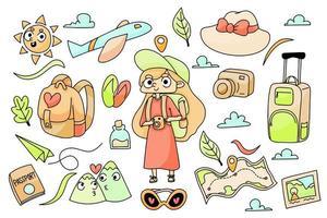 viajero aventurero artículos lindo personaje doodle