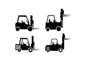 Forklift icon design template set vector