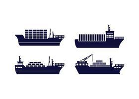 Cargo ship icon design template set