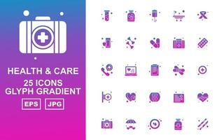 25 Premium Health And Care Glyph Gradient Icon Pack vector