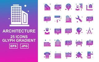 25 Premium Architecture Glyph Gradient Icon Pack vector