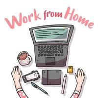 Work from home covid-19 illustration vector