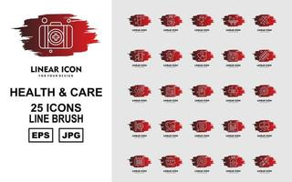 25 Premium Health And Care Line Brush Icon Pack vector