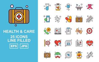 25 Premium Health And Care Line Filled Icon Pack vector