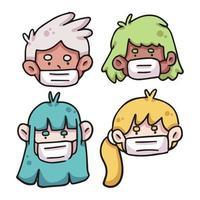 personas con mascarilla covid-19 ilustración