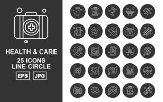 25 Premium Health And Care Line Circle Icon Pack vector