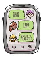 stay at home, stay safe coronavirus illustration vector