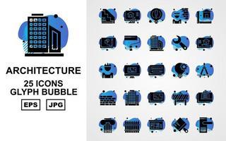 25 Premium Architecture Glyph Bubble Icon Pack vector