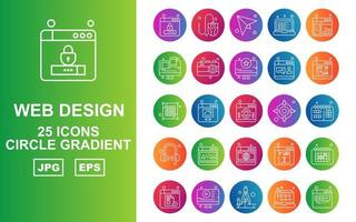 25 Premium Web Design And Development Circle Gradient Icon Pack vector