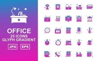 25 Premium Office Glyph Gradient Icon Pack vector