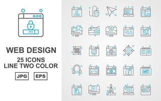 25 Premium Web Design And Development Line Two Color Icon Pack vector