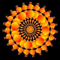 Orange fractal circle ornament vector