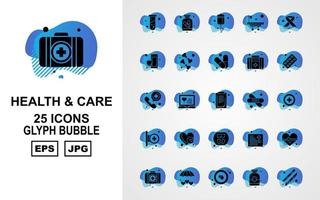 25 Premium Health And Care Glyph Bubble Icon Pack vector