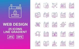 25 Premium Web Design And Development Line Gradient Icon Pack vector