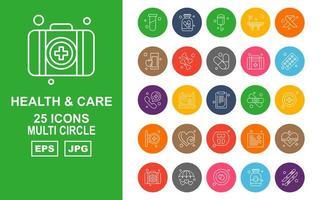 25 Premium Health And Care Multi Circle Icon Pack vector