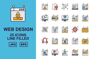 25 Premium Web Design And Development Line Filled Icon Pack vector