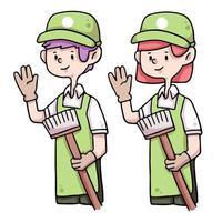 cute janitor cartoon illustration