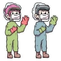 people wearing personal protective equipment covid-19 vector