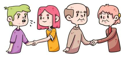 people shaking hands social distancing covid-19 vector