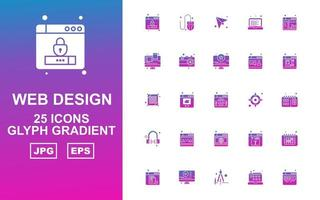 25 Premium Web Design And Development Glyph Gradient Icon Pack vector