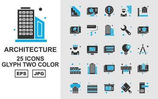 25 Premium Architecture Glyph Two Color Icon Pack vector