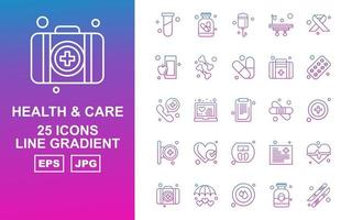 25 Premium Health And Care Line Gradient Icon Pack vector